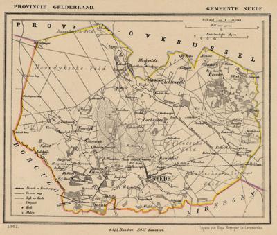 Gemeente Neede anno ca. 1870, kaart J. Kuijper