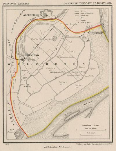 Gemeente Nieuw- en St. Joosland in ca. 1870, kaart J. Kuijper (© www.atlasenkaart.nl)