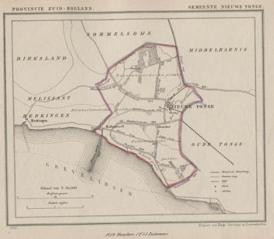 Gemeente Nieuwe-Tonge anno ca. 1870, kaart J. Kuijper