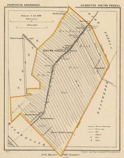 Gemeente Nieuwe Pekela anno ca. 1870, kaart J. Kuijper (collectie www.atlasenkaart.nl)