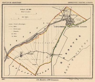 Gemeente Nieuweschans anno ca. 1870, kaart J. Kuijper (collectie www.atlasenkaart.nl)