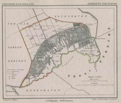 Gemeente Nieuwkoop anno ca. 1870, kaart J. Kuijper (collectie www.atlasenkaart.nl)