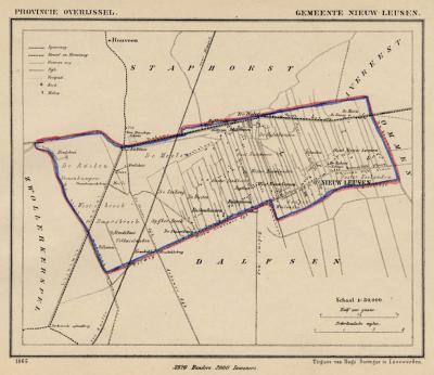 Gemeente Nieuwleusen anno ca. 1870, kaart J. Kuijper (collectie www.atlasenkaart.nl)