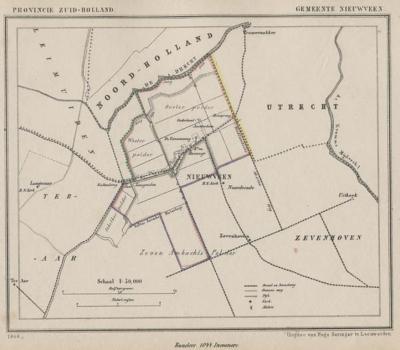 Gemeente Nieuwveen anno ca. 1870, kaart J. Kuijper (© www.atlasenkaart.nl)