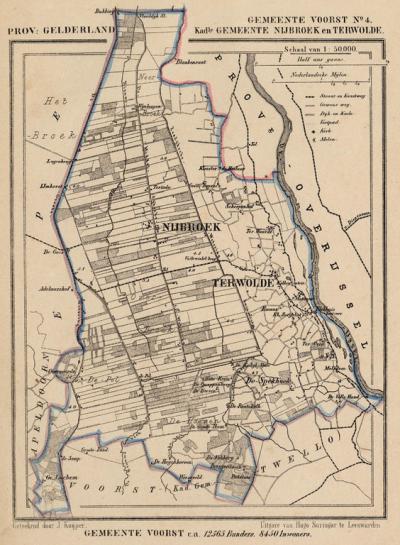 Kaart van de in 1818 opgeheven gemeente Nijbroek, situatie anno ca. 1870, kaart J. Kuijper