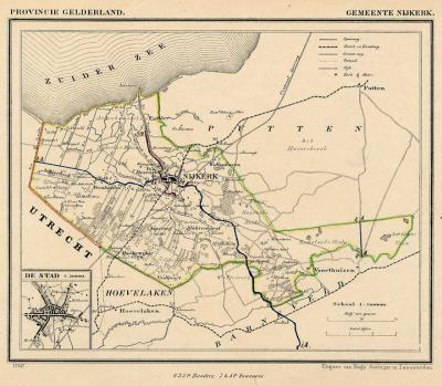 Gemeente Nijkerk anno ca. 1870, kaart J. Kuijper
