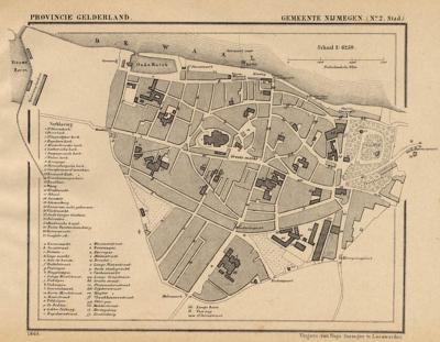 Stad Nijmegen anno ca. 1870, kaart J. Kuijper