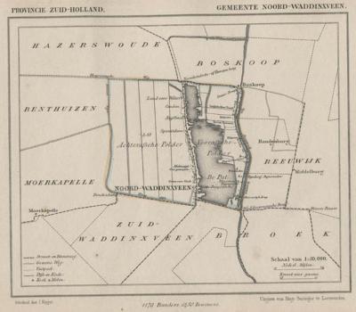 Gemeente Noord-Waddinxveen anno ca. 1870, kaart J. Kuijper (© www.atlasenkaart.nl)