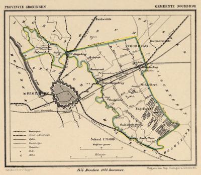 Gemeente Noorddijk anno ca. 1870, kaart J. Kuijper (collectie www.atlasenkaart.nl)