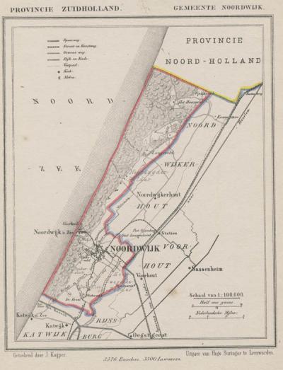 Gemeente Noordwijk anno ca. 1870, kaart J. Kuijper (collectie www.atlasenkaart.nl)