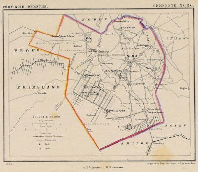 Gemeente Norg anno ca. 1870, kaart J. Kuijper (collectie www.atlasenkaart.nl)