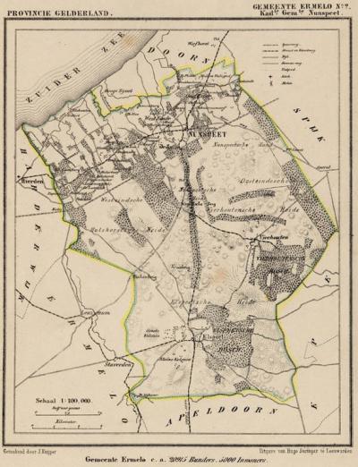 Kaart van de van 1812 t/m 1817 bestaan hebbende gemeente Nunspeet, situatie anno ca. 1870, kaart J. Kuijper (collectie atlasenkaart.nl)