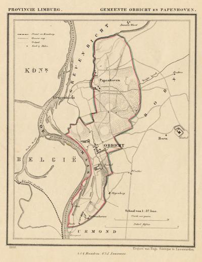 Gemeente Obbicht en Papenhoven anno ca. 1870, kaart J. Kuijper