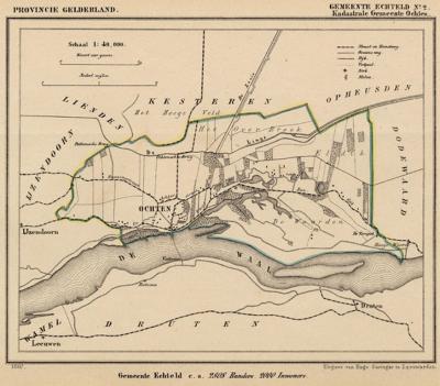 Kaart van de in 1818 opgeheven gemeente Ochten (exclusief de daar in 1812 aan toegevoegde gemeente IJzendoorn), situatie anno ca. 1870, kaart J. Kuijper