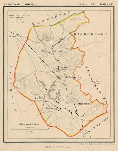 Gemeente Oirsbeek anno ca. 1870, kaart J. Kuijper (collectie www.atlasenkaart.nl)