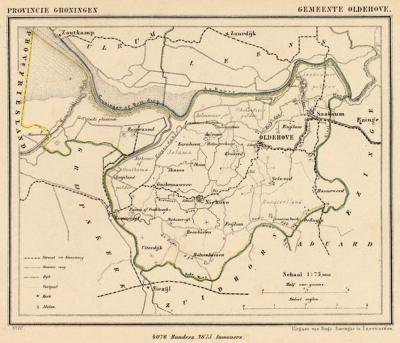 Gemeente Oldehove anno ca. 1870, kaart J. Kuijper (collectie www.atlasenkaart.nl)
