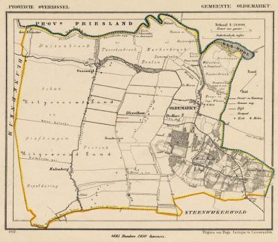 Gemeente Oldemarkt anno ca. 1870, kaart J. Kuijper (collectie www.atlasenkaart.nl)