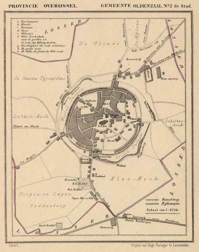 Stad Oldenzaal anno ca. 1870, kaart J. Kuijper (collectie www.atlasenkaart.nl)