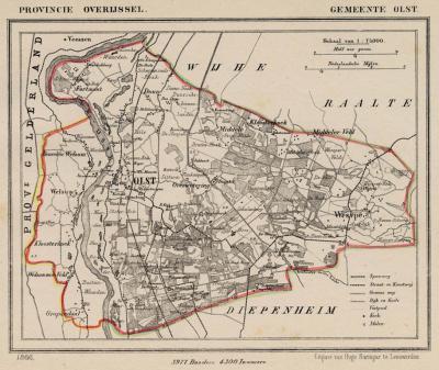 Gemeente Olst anno ca. 1870, kaart J. Kuijper (collectie www.atlasenkaart.nl)