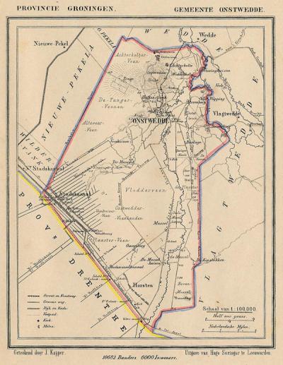 Gemeente Onstwedde anno ca. 1870, kaart J. Kuijper (collectie www.atlasenkaart.nl)