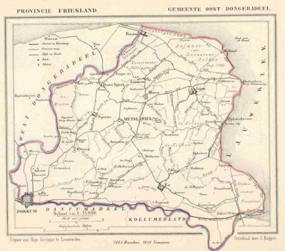 Gemeente Oostdongeradeel anno ca. 1870, kaart J. Kuijper (collectie www.atlasenkaart.nl)