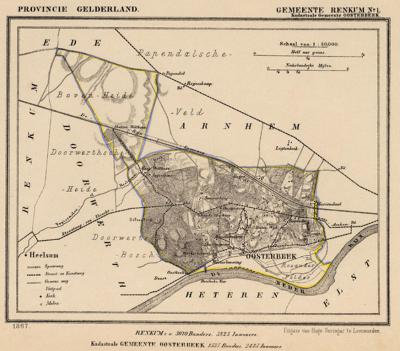 Kaart van de in 1818 opgeheven gemeente Oosterbeek, exclusief de in 1812 daaraan toegevoegde gemeente Doorwerth, situatie anno ca. 1870, kaart J. Kuijper