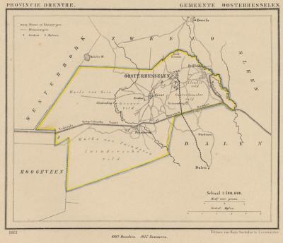 Gemeente Oosterhesselen in ca. 1870, kaart J. Kuijper (collectie www.atlasenkaart.nl)