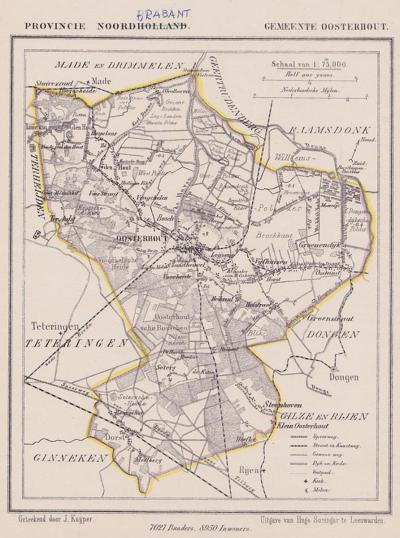 Gemeente Oosterhout anno ca. 1870, kaart J. Kuijper (collectie www.atlasenkaart.nl)