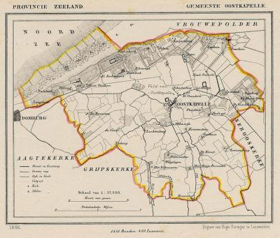 Gemeente Oostkapelle anno ca. 1870, kaart J. Kuijper (© www.atlasenkaart.nl)