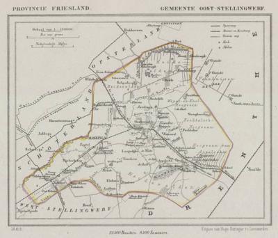 Gemeente Ooststellingwerf anno ca. 1870, kaart J. Kuijper (collectie www.atlasenkaart.nl)