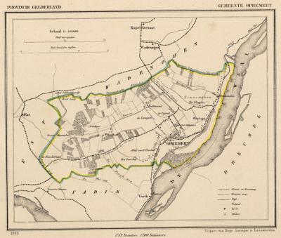 Gemeente Ophemert anno ca. 1870, kaart J. Kuijper
