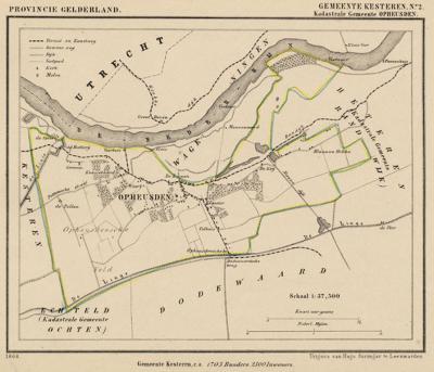 Kaart van de begin 19e eeuw opgeheven gemeente Opheusden, situatie anno ca. 1870, kaart J. Kuijper