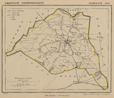 Gemeente Oss anno ca. 1870, kaart J. Kuijper (collectie www.atlasenkaart.nl)