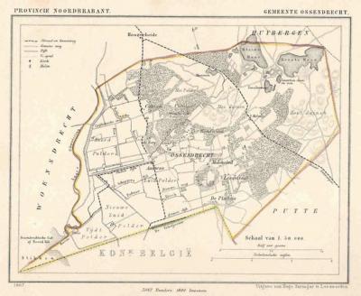 Gemeente Ossendrecht anno ca. 1870, kaart J. Kuijper (collectie www.atlasenkaart.nl)