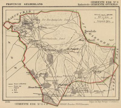 Kaart van de in 1818 opgeheven gemeente Otterlo, situatie anno ca. 1870, kaart J. Kuijper