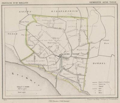 Gemeente Oude-Tonge anno ca. 1870, kaart J. Kuijper
