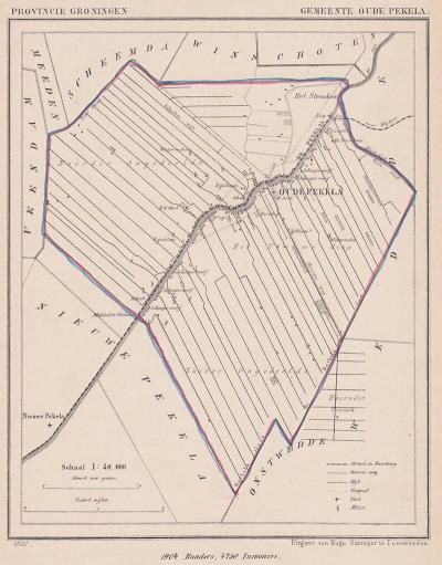 Gemeente Oude Pekela anno ca. 1870, kaart J. Kuijper (collectie www.atlasenkaart.nl)