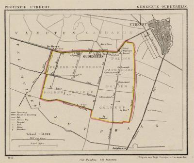 Gemeente Oudenrijn anno ca. 1870, kaart J. Kuijper (collectie www.atlasenkaart.nl)