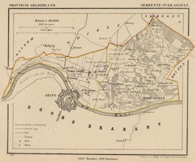 Gemeente Overasselt anno ca. 1870, kaart J. Kuijper