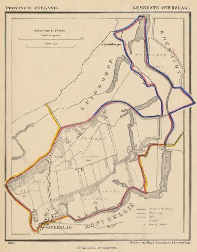 Gemeente Overslag anno ca. 1870, kaart J. Kuijper (collectie www.atlasenkaart.nl)