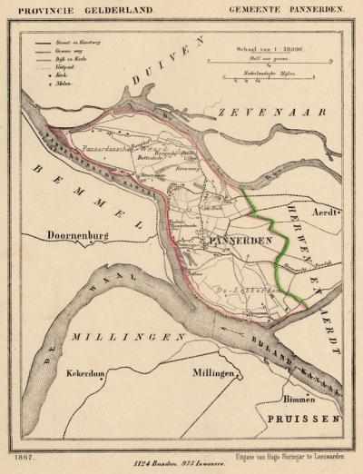 Gemeente Pannerden anno ca. 1870, kaart J. Kuijper