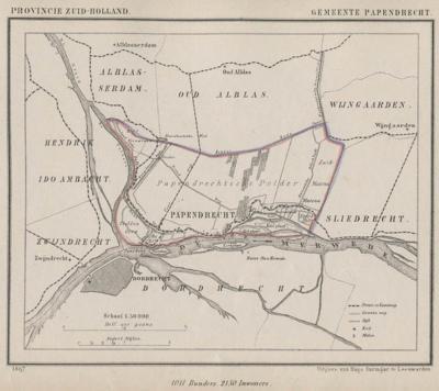 Gemeente Papendrecht anno ca. 1870, kaart J. Kuijper (collectie www.atlasenkaart.nl)