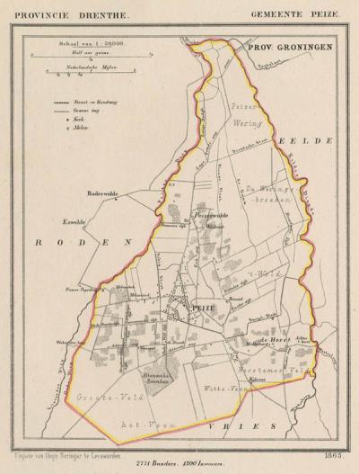 Gemeente Peize anno ca. 1870, kaart J. Kuijper (collectie www.atlasenkaart.nl)