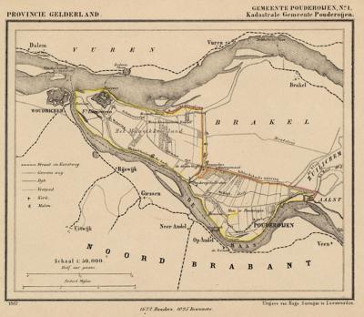 Gemeente Poederoijen anno ca. 1870, kaart J. Kuijper, exclusief de in 1818 opgeheven gemeente Aalst