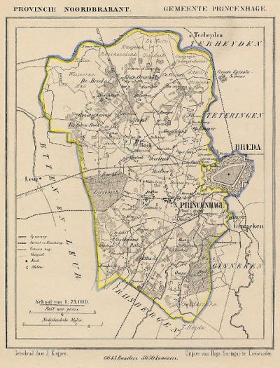 Gemeente Princenhage anno ca. 1870, kaart J. Kuijper (© www.atlasenkaart.nl)