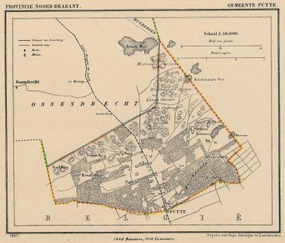 Gemeente Putte anno ca. 1870, kaart J. Kuijper (collectie www.atlasenkaart.nl)