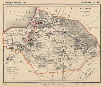 Gemeente Putten anno ca. 1870, kaart J. Kuijper