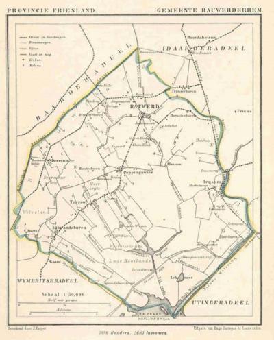 Gemeente Rauwerderhem anno ca. 1870, kaart J. Kuijper (collectie www.atlasenkaart.nl)
