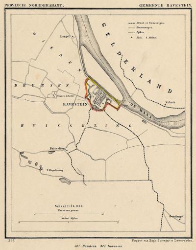 Gemeente Ravenstein anno ca. 1870, kaart J. Kuijper (collectie www.atlasenkaart.nl). Duidelijk te zien is dat de gemeente oorspronkelijk alleen de vesting omvatte. Pas na de gemeentelijke herindelingen van 1923 kon de stad buiten de vesting uitbreiden.