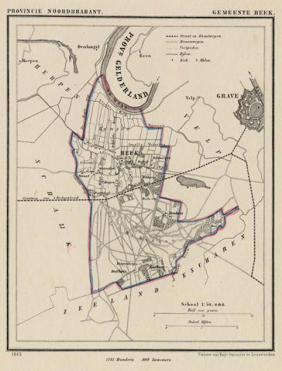 Gemeente Reek anno ca. 1870, kaart J. Kuijper